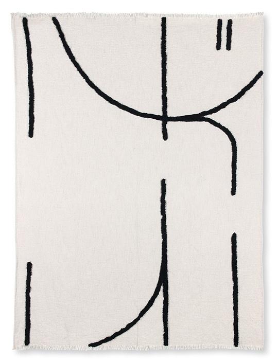 Woondeken throw tufted black lines (130x170)-4