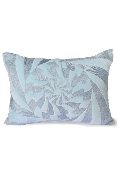 Kussen graphic embroidered cushion ice blue (35x50)