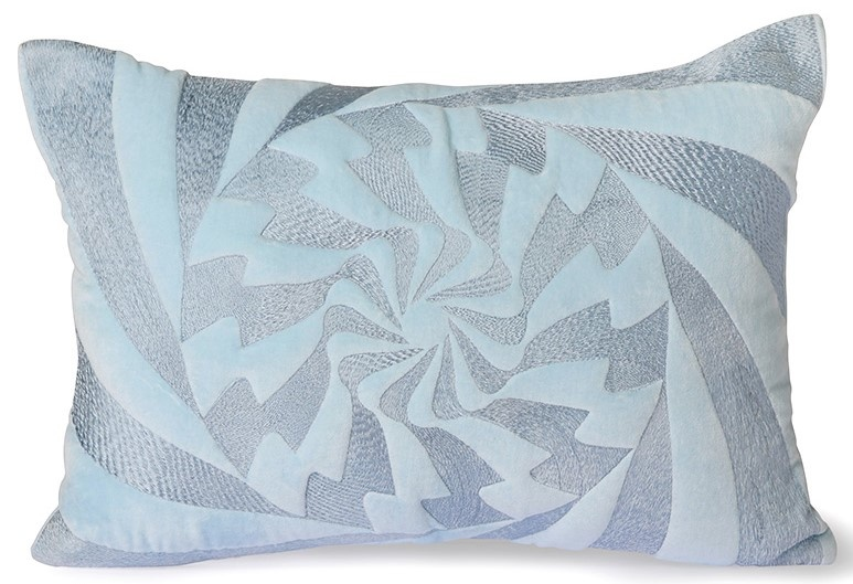 Kussen graphic embroidered cushion ice blue (35x50)-1