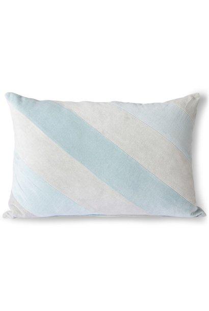 Kussen striped velvet cushion ice blue (40x60)