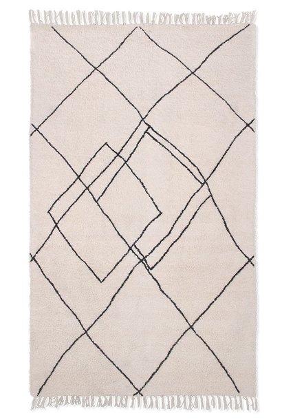 Vloerkleed handwoven zigzag rug black/white (150x240)