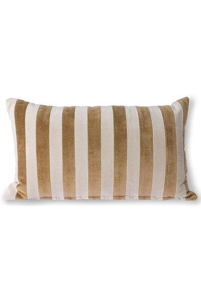 Kussen striped velvet cushion brown/natural (30x50)