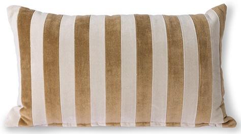 Kussen striped velvet cushion brown/natural (30x50)-1