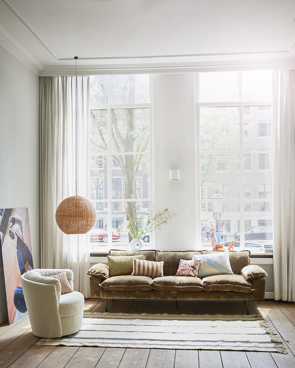 Kussen striped velvet cushion brown/natural (30x50)-2