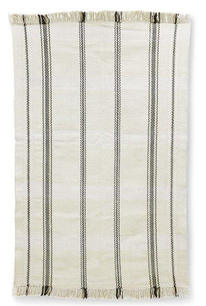 Vloerkleed handwoven rug black/white stripes (150x240)