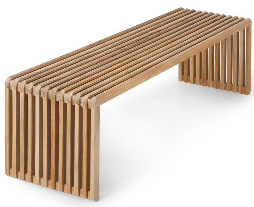 Bank slatted bench teak-1