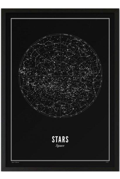 Poster Stars - Black - A4 / 21X30cm