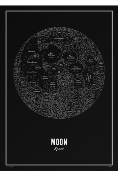 Poster Moon - Black - A4 / 21X30cm