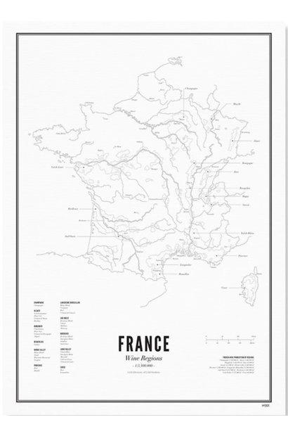 Poster Frankrijk- Wijnregio's- A4 / 40X50cm