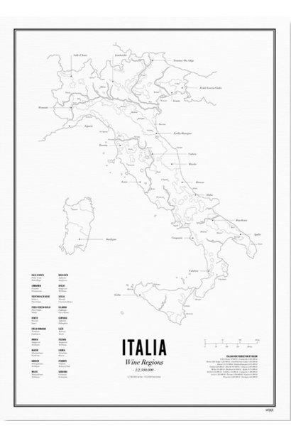 Poster Italië- Wijnregio's- A4 / 40X50cm