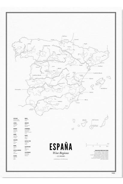 Poster Spanje- Wijnregio's- A4 / 30X40cm