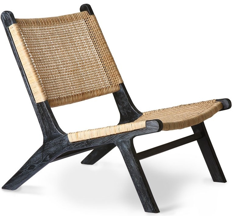 Stoel webbing lounge chair black/natural-1