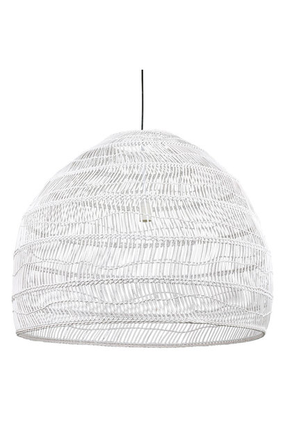 Hanglamp wicker pendant lamp ball white L