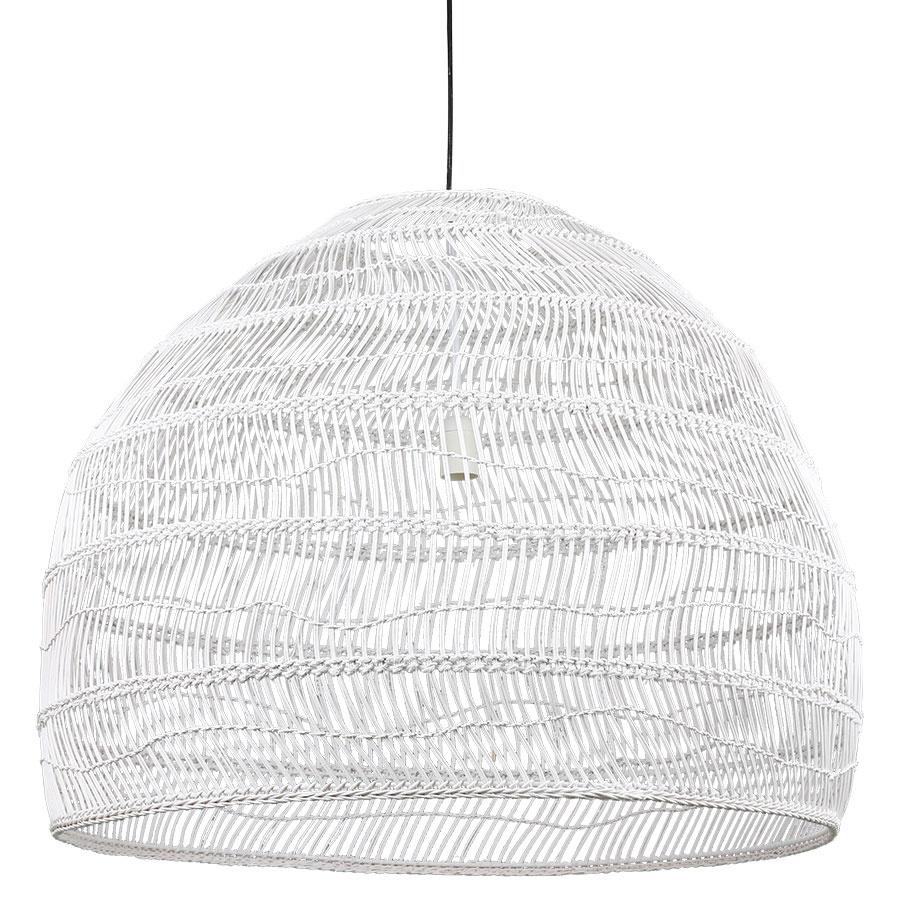 Hanglamp wicker pendant lamp ball white L-1