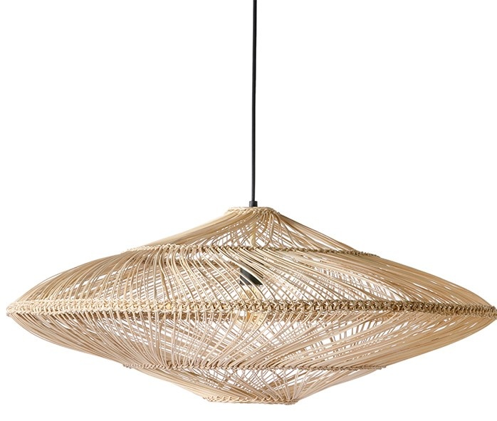 Hanglamp wicker pendant lamp oval natural-1