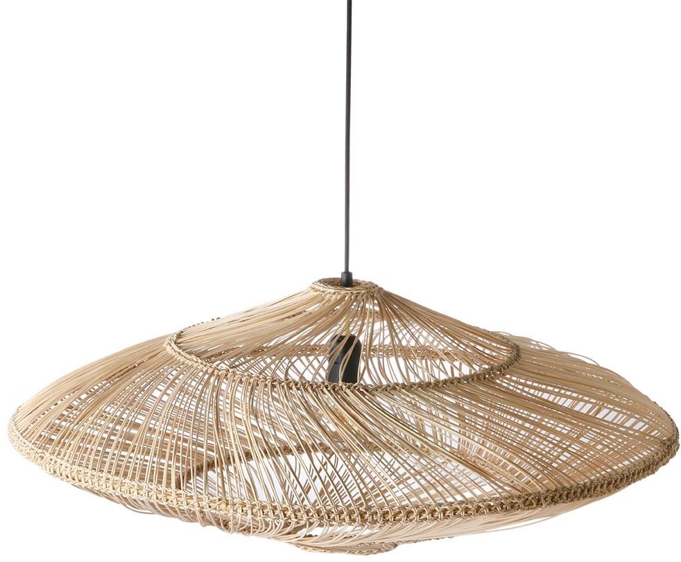 Hanglamp wicker pendant lamp oval natural-3