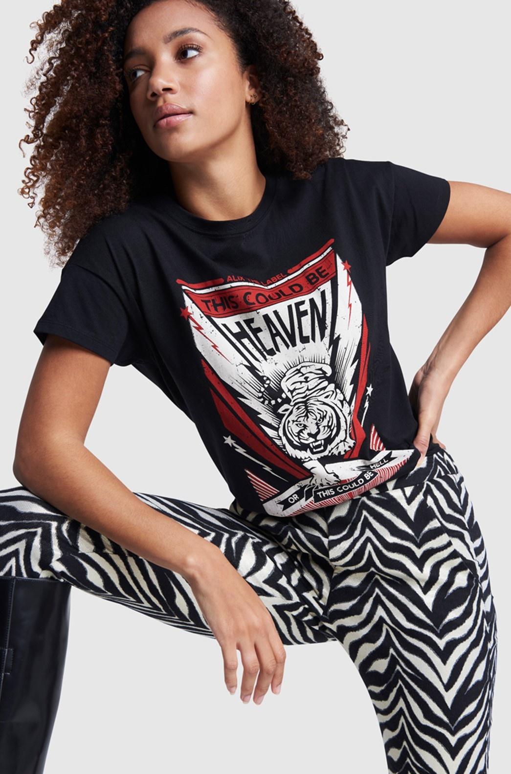 T-shirt ladies knitted tiger black-3