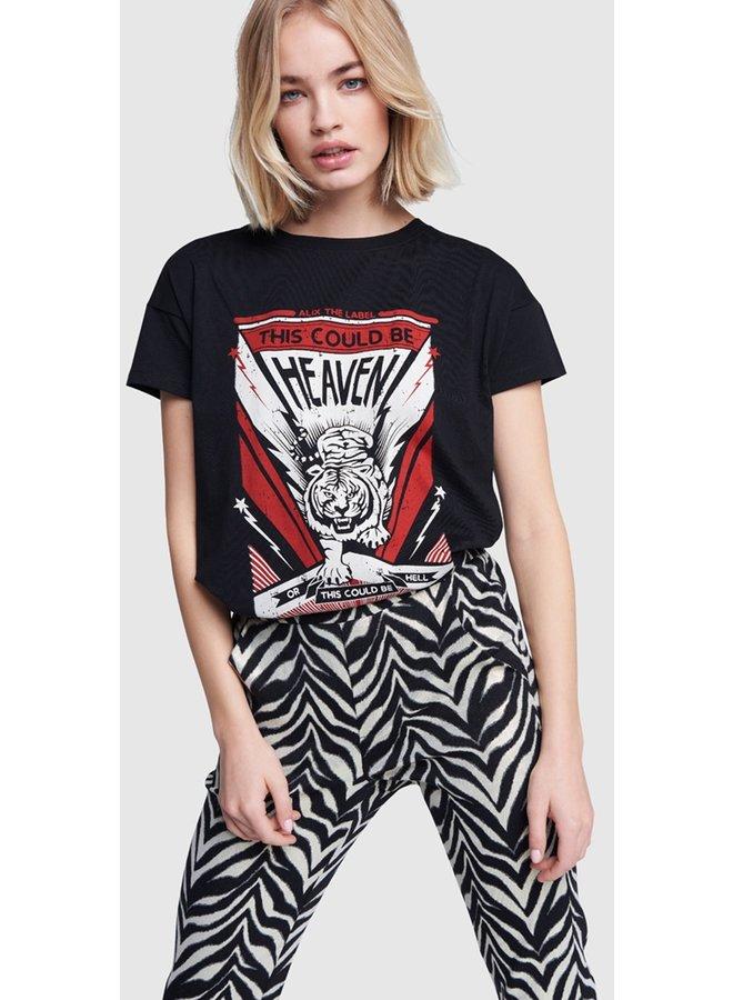 T-shirt ladies knitted tiger black