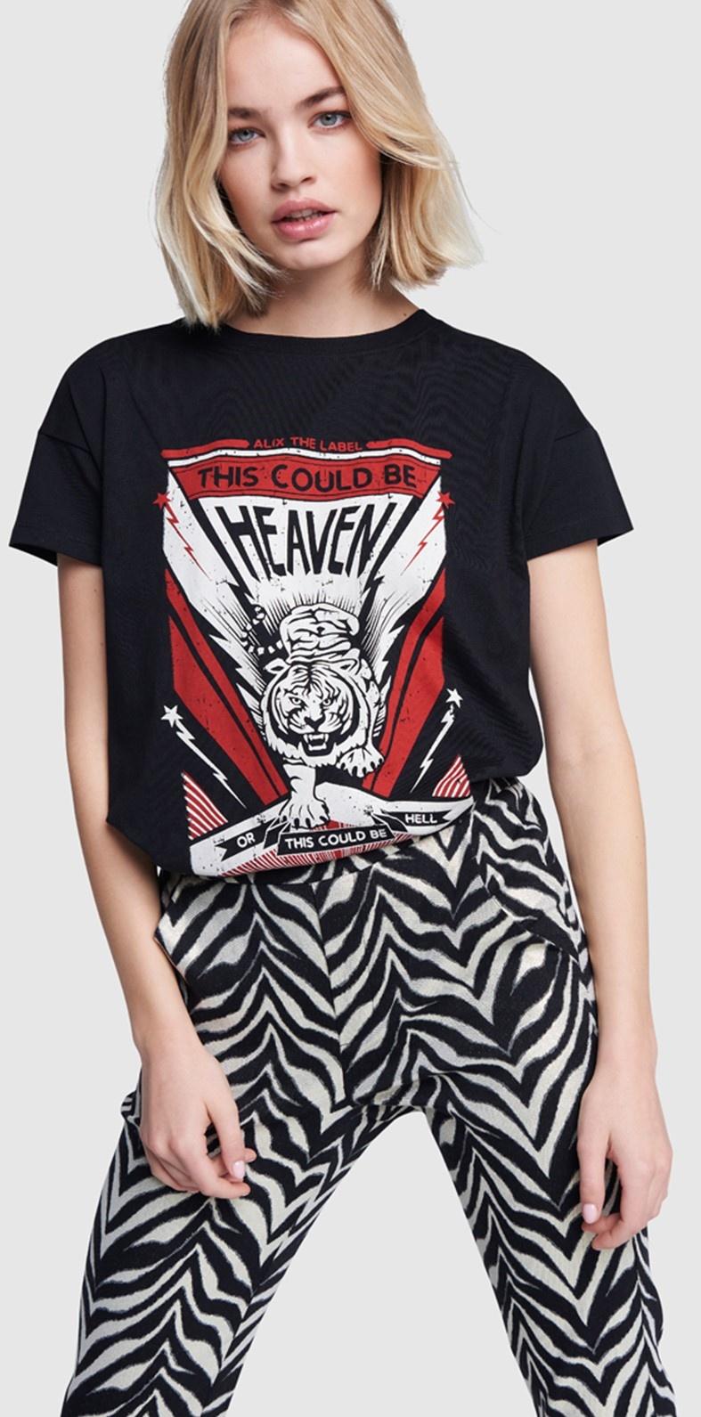 T-shirt ladies knitted tiger black-4