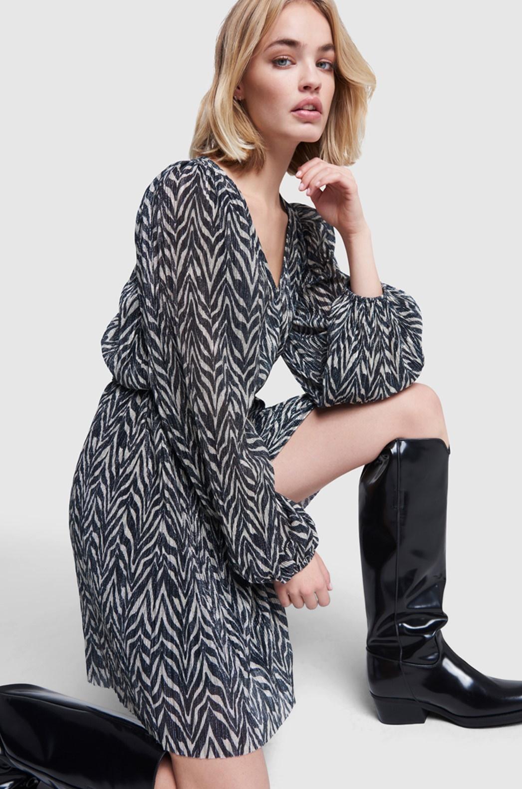 Jurk ladies knitted zebra lurex dress black-4