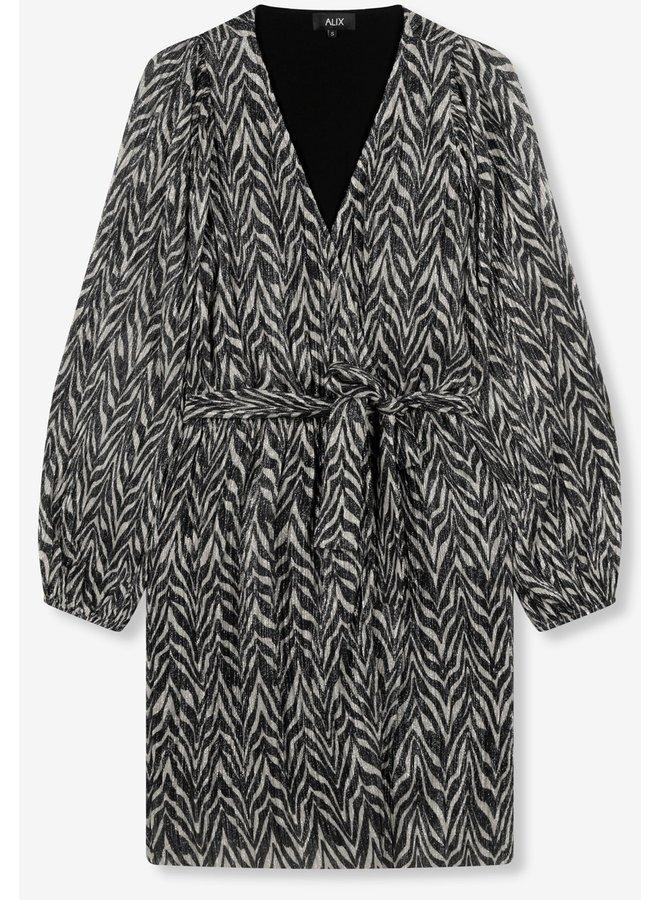 Jurk ladies knitted zebra lurex dress black