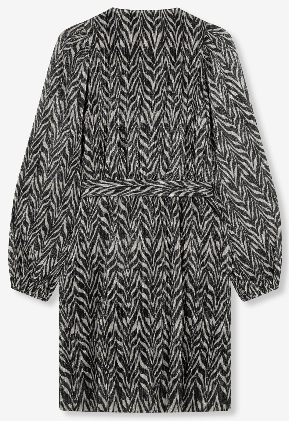 Jurk ladies knitted zebra lurex dress black-3