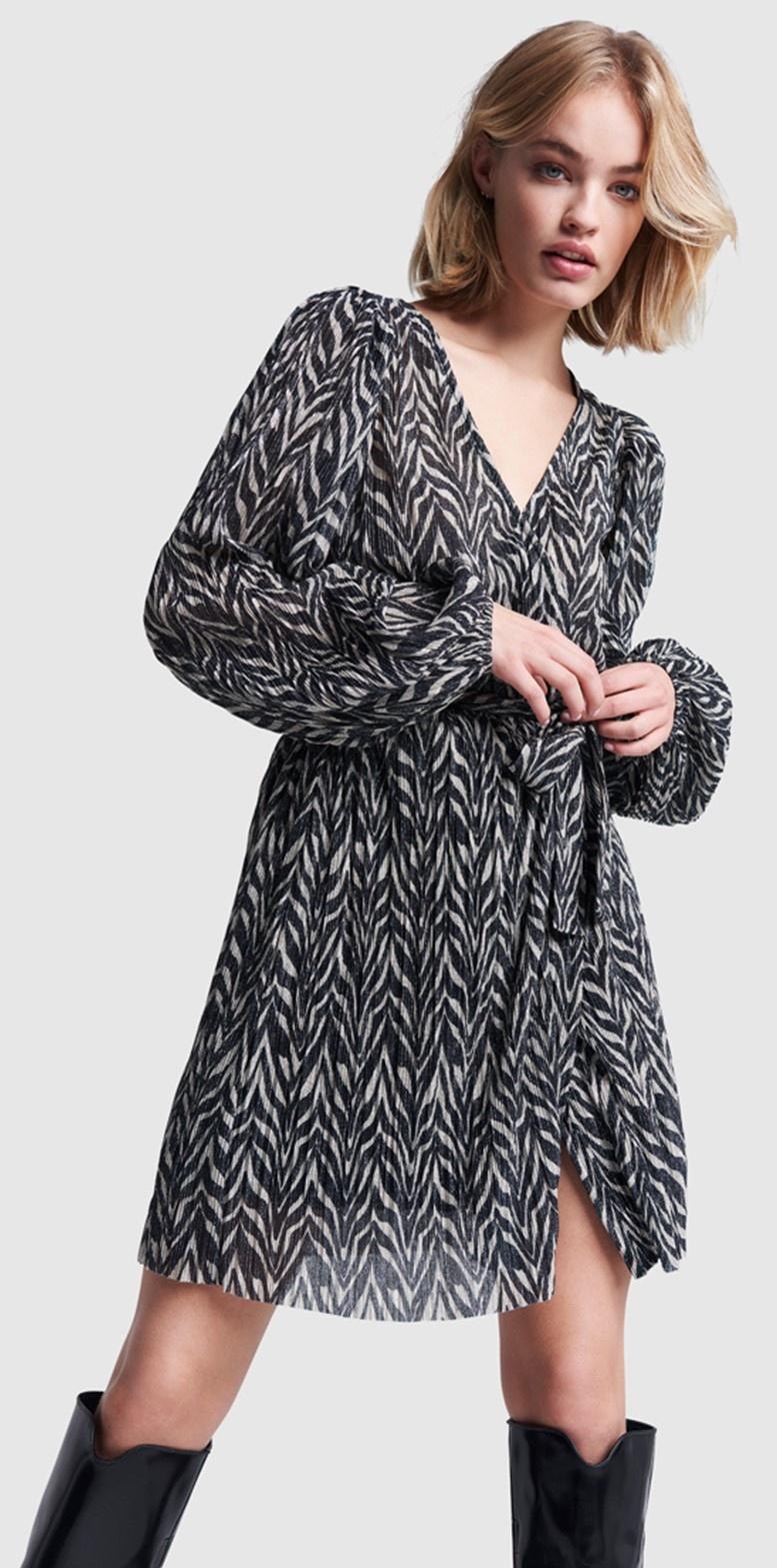 Jurk ladies knitted zebra lurex dress black-5