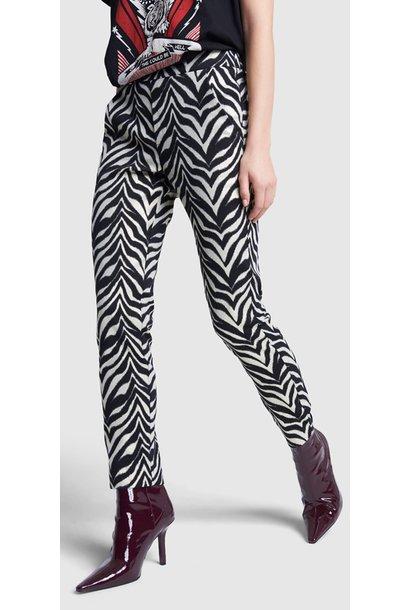 Broek ladies woven zebra stretch pants black