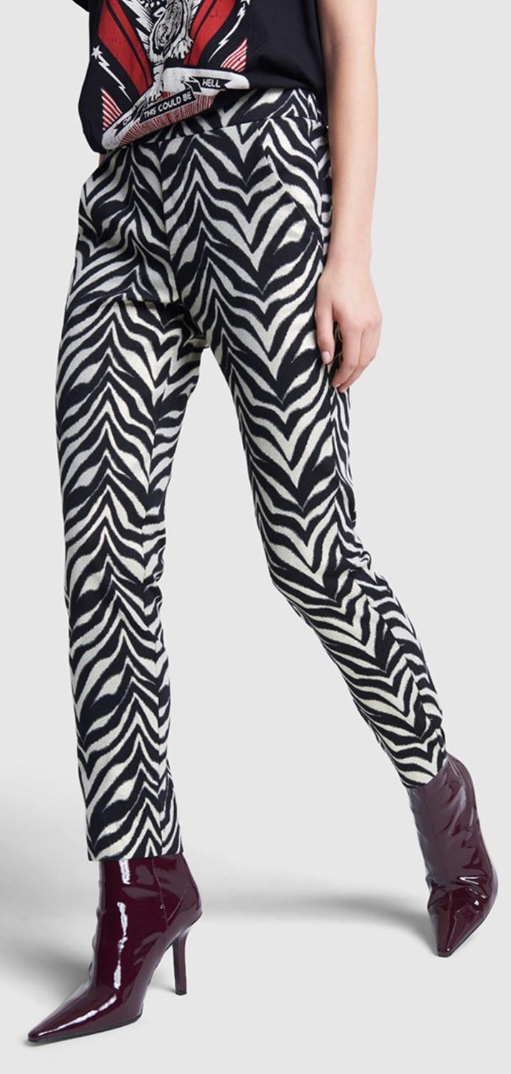 Broek ladies woven zebra stretch pants black-1