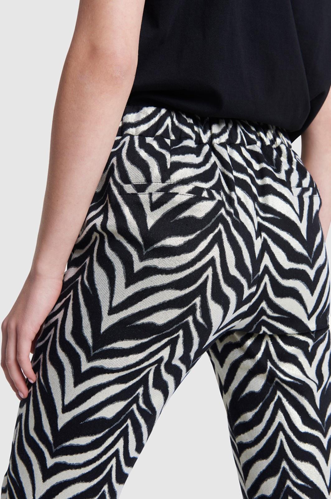 Broek ladies woven zebra stretch pants black-4