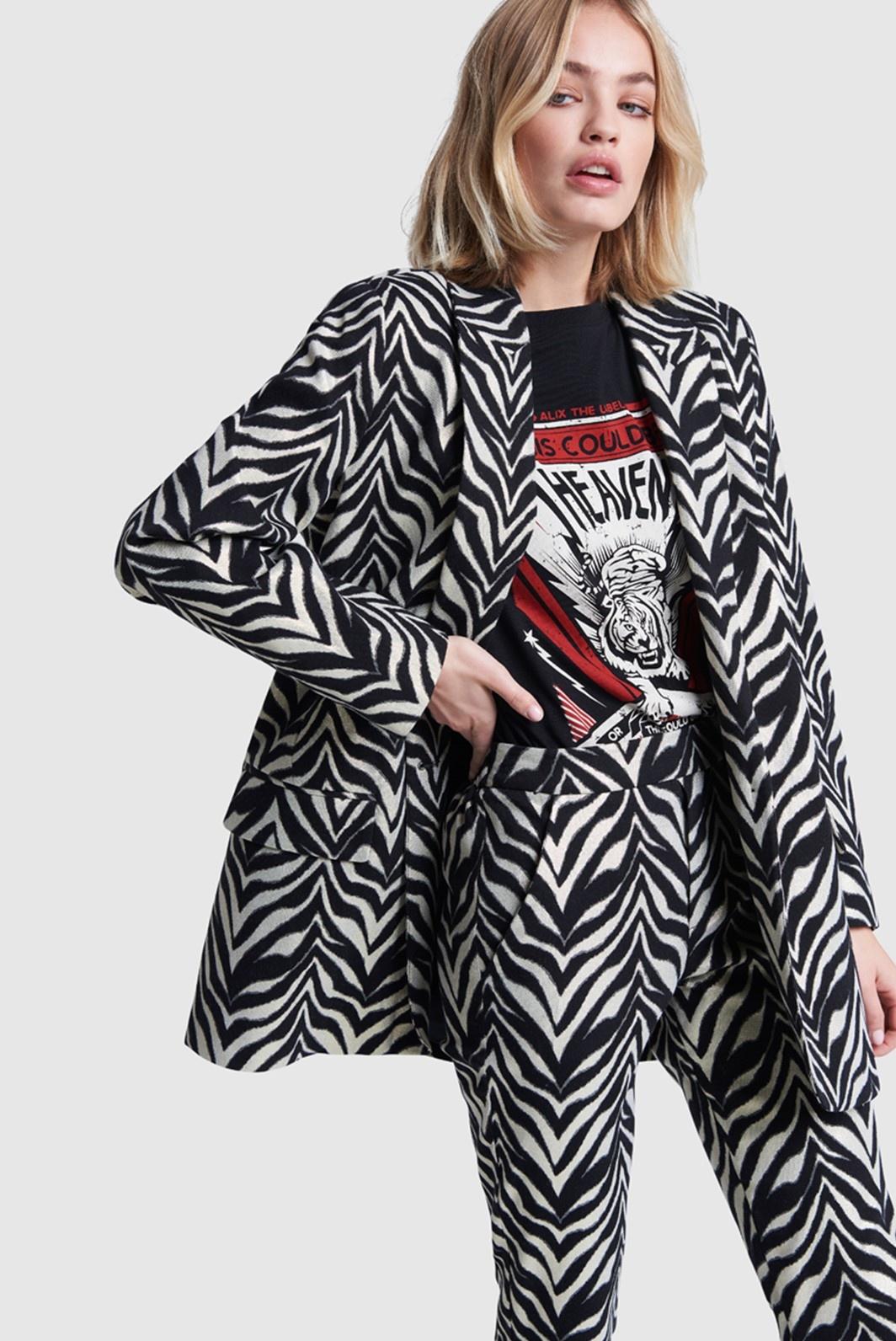 Broek ladies woven zebra stretch pants black-6