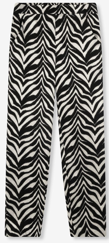 Broek ladies woven zebra stretch pants black-3
