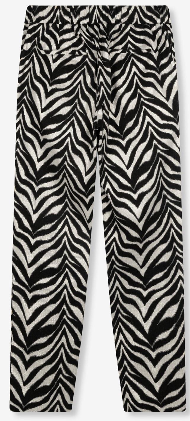 Broek ladies woven zebra stretch pants black-5