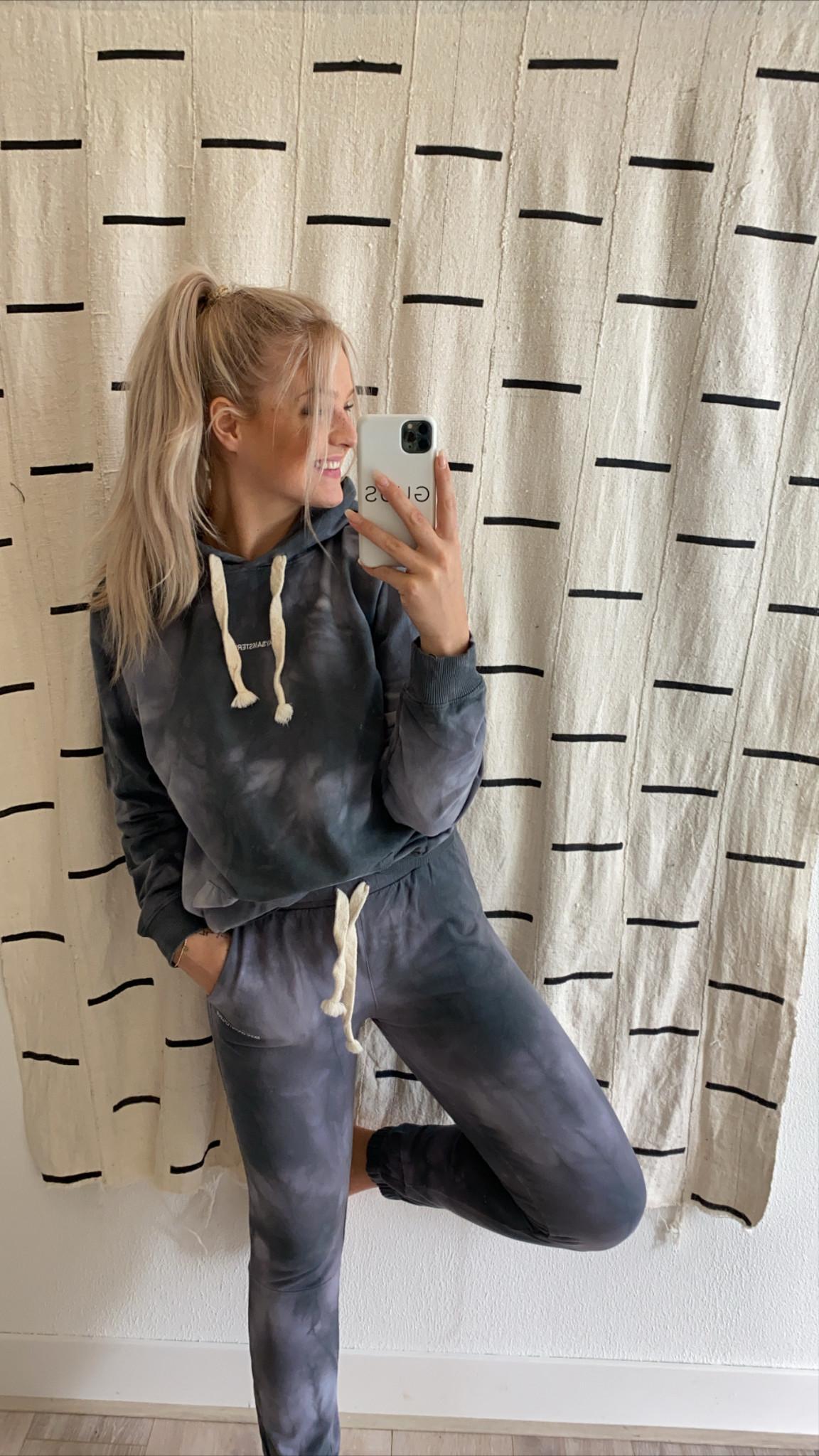 Trui Hoodie tie dye grey-2