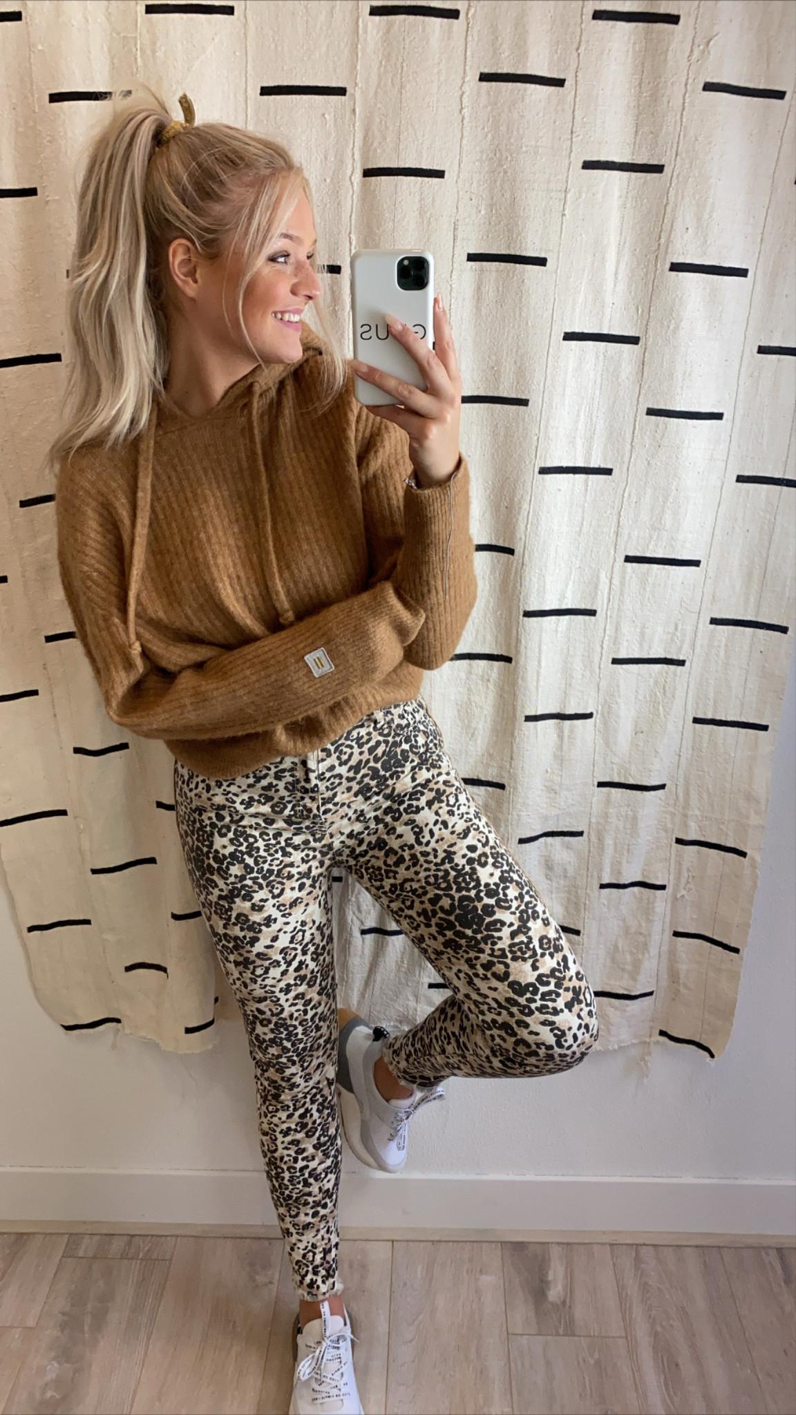 Jeans skinny denim leopard winter white-2