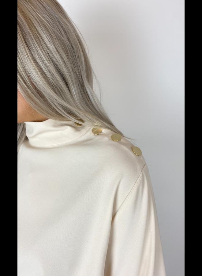 Blouse Camicia vaniglia 3/4 mouw, hoge hals