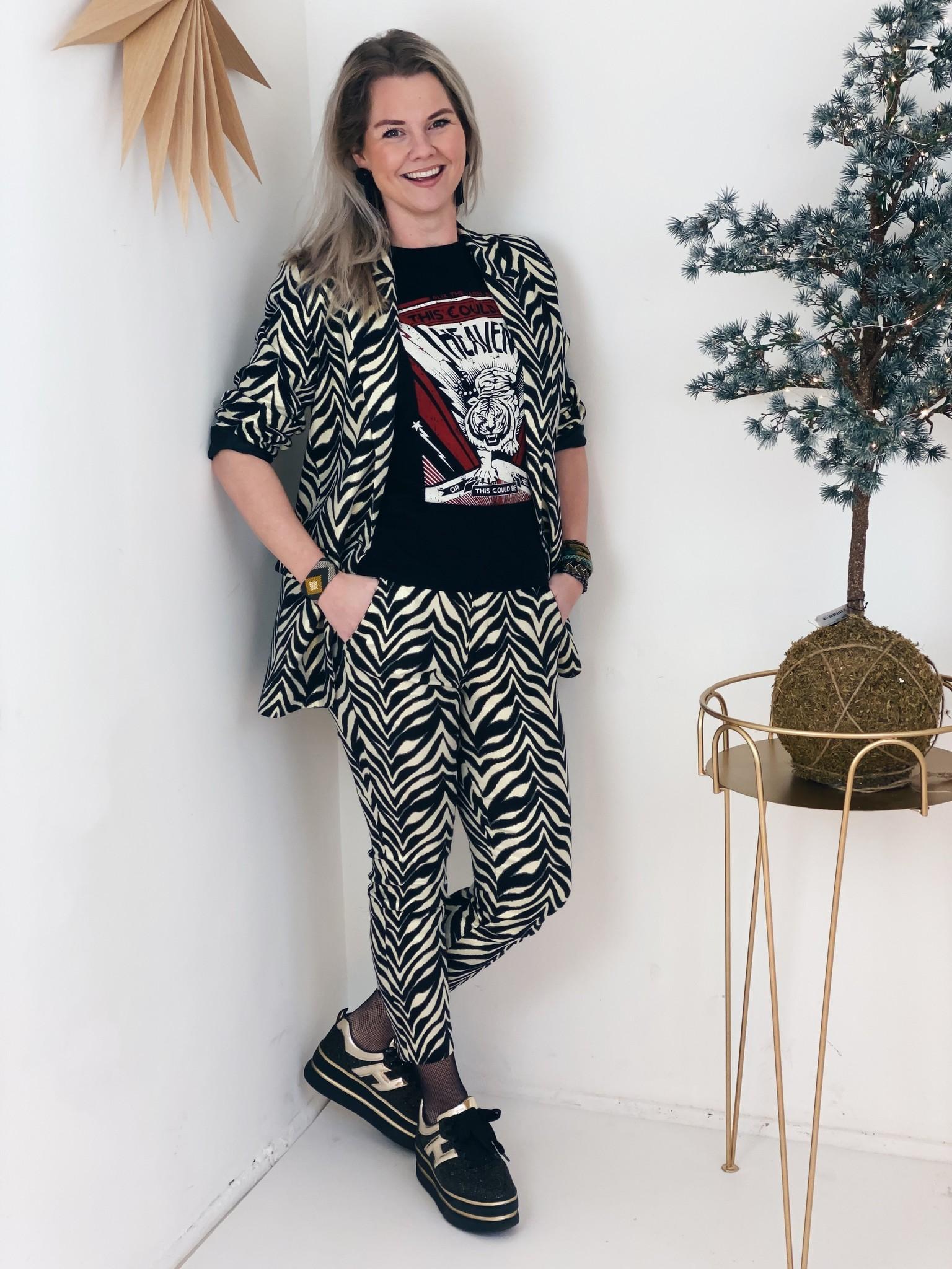 Broek ladies woven zebra stretch pants black-2