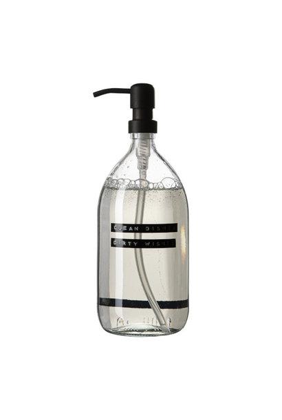 Afwasmiddel helder glas met stalen pomp 1L clean dishes dirty wishes