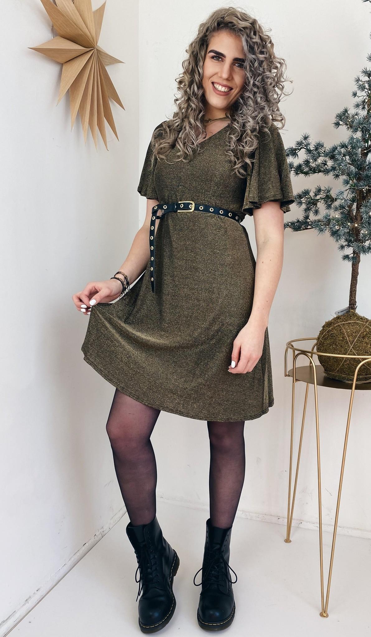 Jurk CRMinu short dress Gold Lurex-1