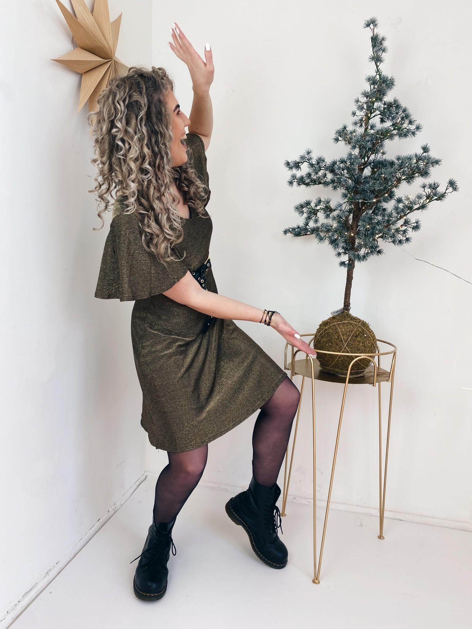 Jurk CRMinu short dress Gold Lurex-5