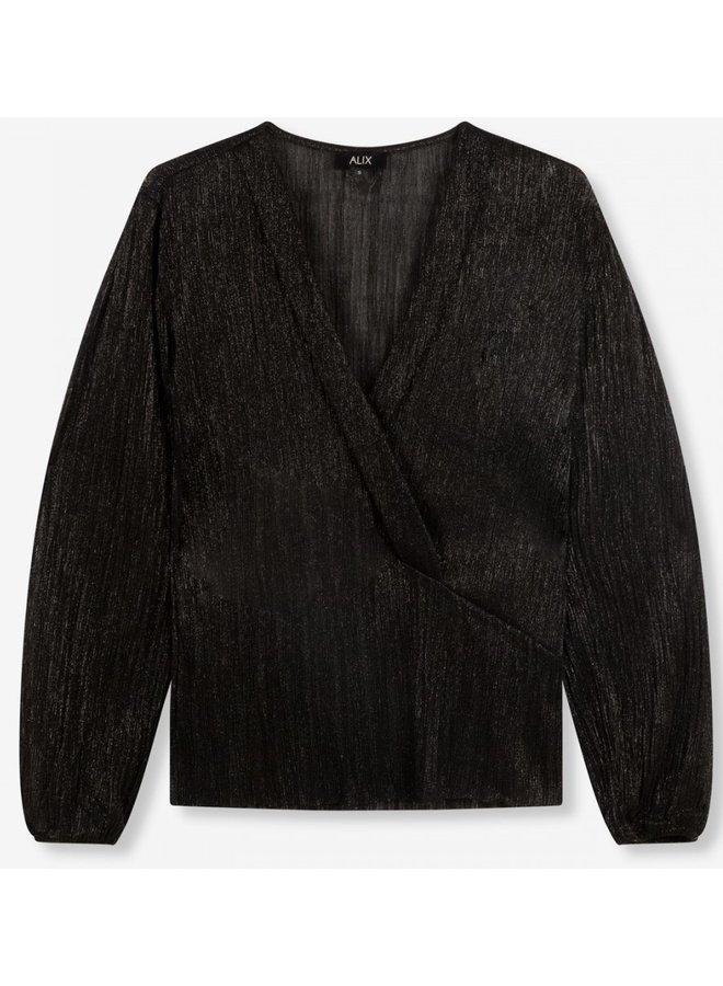 Top knitted lurex mesh V-neck black