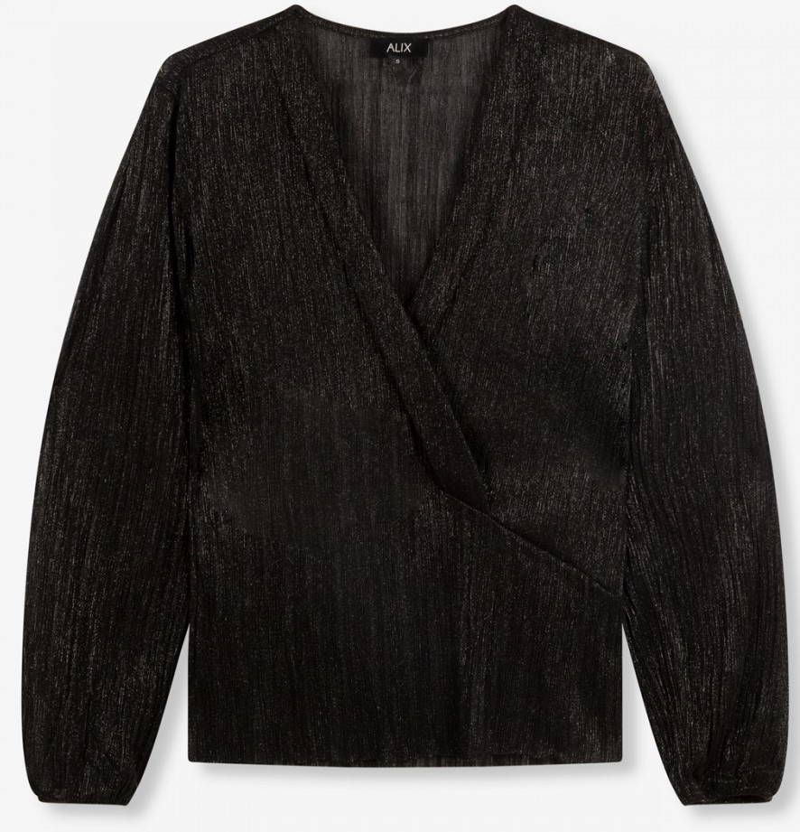 Top knitted lurex mesh V-neck black-1