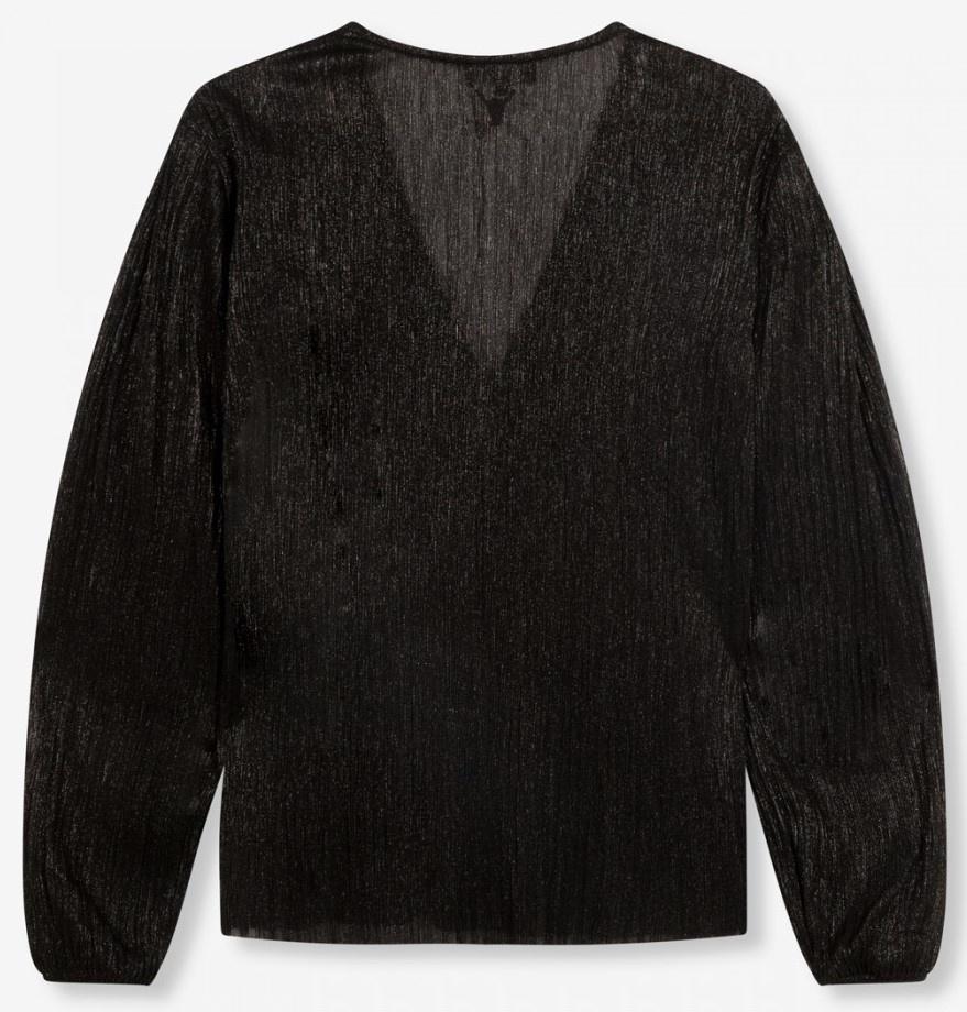 Top knitted lurex mesh V-neck black-4