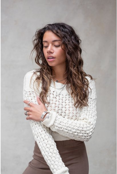 Trui Poets knitted top off white