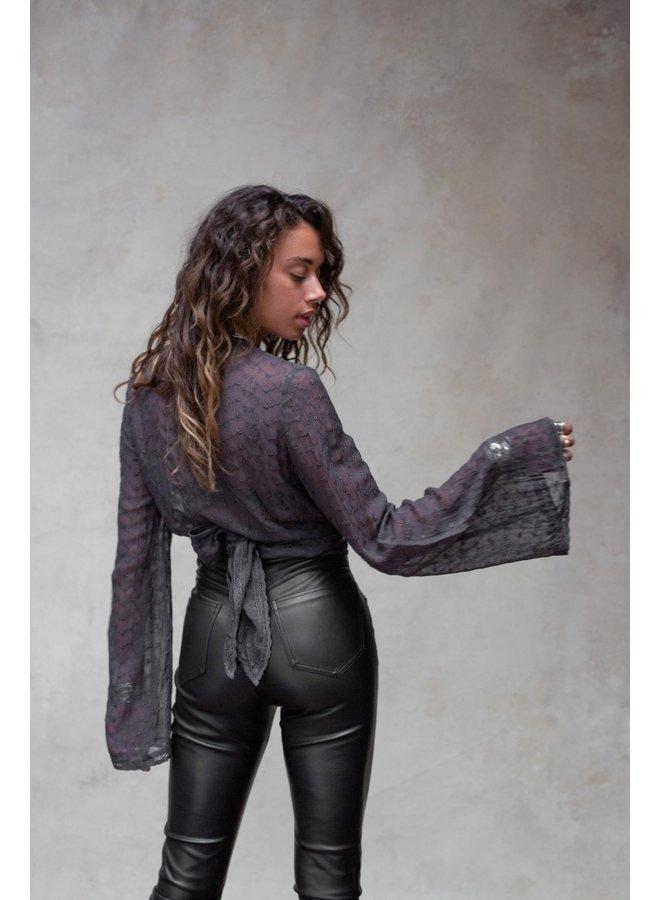 Blouse Novalie wrap top grey