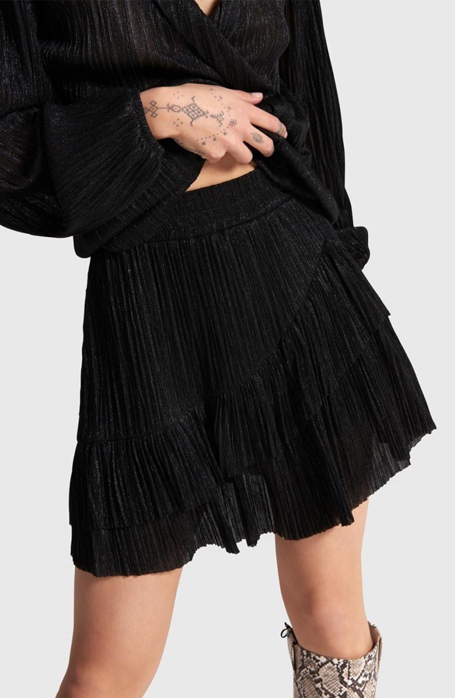 Rok  knitted lurex mesh ruffle black-5