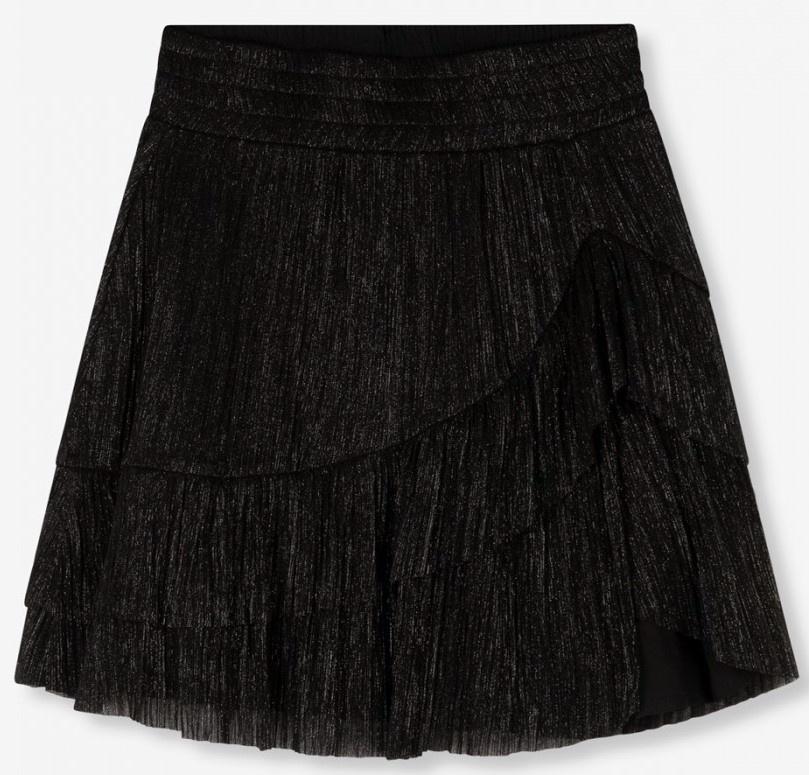 Rok  knitted lurex mesh ruffle black-2