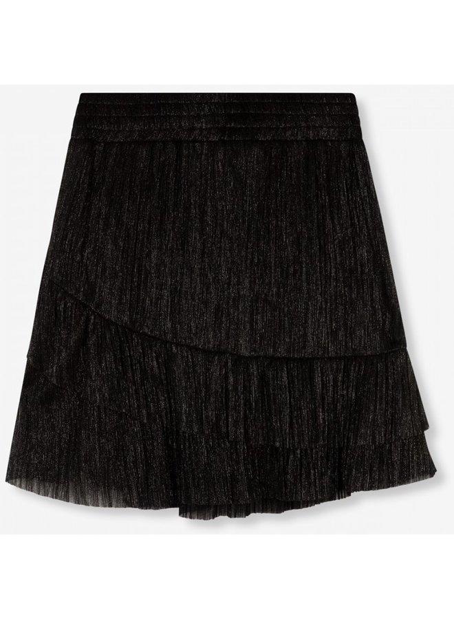 Rok  knitted lurex mesh ruffle black