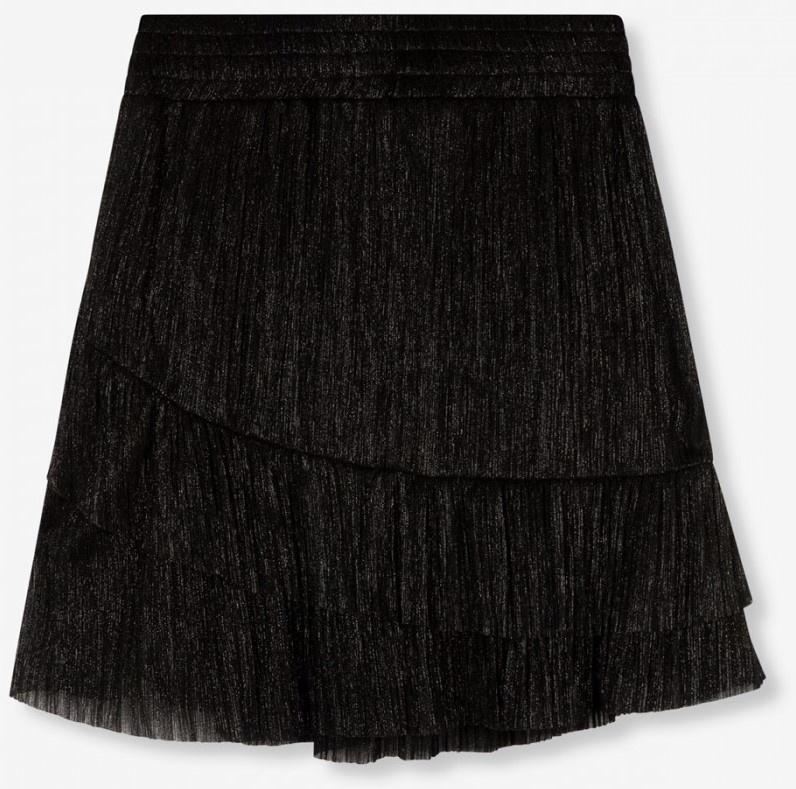 Rok  knitted lurex mesh ruffle black-6