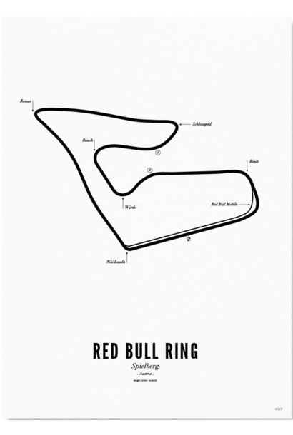 Poster circuit Red Bull Ring - white edition-  A4 / 21X30cm